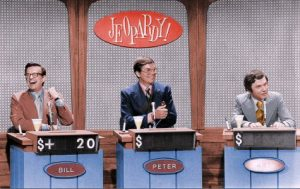 Bill Cullen of Three On A Match, Peter Marshall of The Hollywood Squares, and Art James of The Who What Or Where Game play a special celebrity Jeopardy! match in 1972