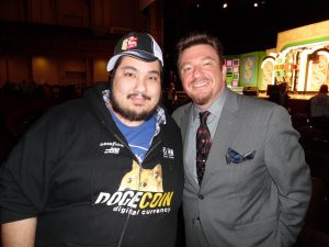 Some fat oaf stands next to Price is Right Live announcer Andy Martello. You might recognize him from Mystery Diners. When you're two beers in, he sounds like Randy West. (That's a compliment.) Photo courtesy A Click in Time Photography.
