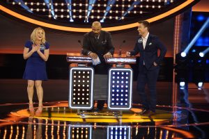 """CELEBRITY FAMILY FEUD - """"Lance Bass vs Kellie Pickler and Ernie Hudson vs Nene Leakes"""" - The celebrity families competing to win cash for their charities feature the families from award-winning country music recording artist Kellie Pickler; and Lance Bass, member of the multi-platinum pop boy band *NSYNC. In a separate game, family members from NeNe Leakes, star of ABC's """"To Tell the Truth,"""" will compete against the family of actor Ernie Hudson. The second season premiere episode of """"Celebrity Family Feud"""" airs SUNDAY, JUNE 26 (8:00-9:00 p.m. EDT), on the ABC Television Network. (ABC/Kelsey McNeal) KELLIE PICKLER, STEVE HARVEY, LANCE BASS"""