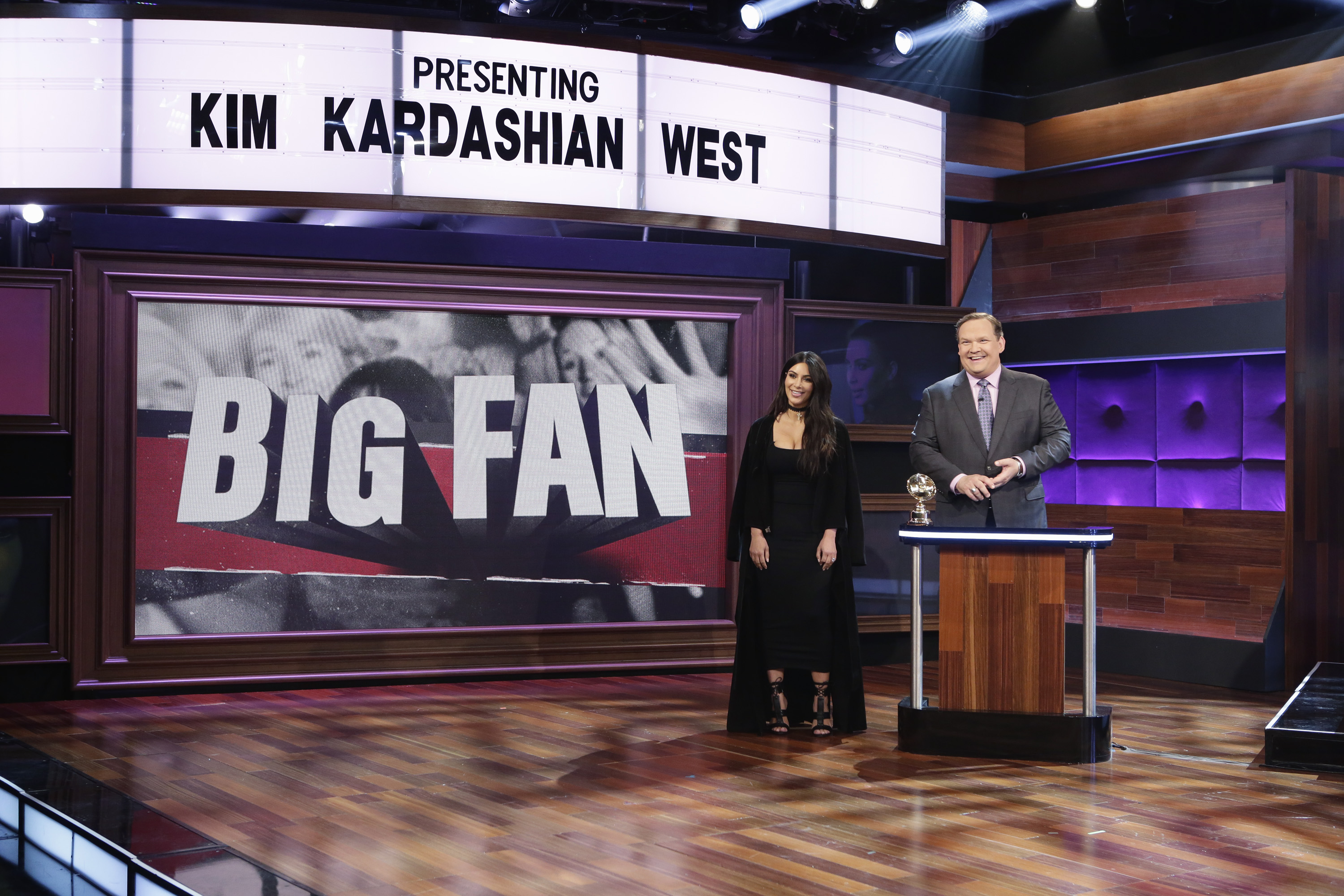 """BIG FAN - """"Big Fan Kim Kardashian West"""" airs MONDAY, JANUARY 16 (10:00-10:30 p.m. EST) on the ABC Television Network. Among Kim Kardashian West's millions of followers around the world, three are chosen to battle it out to be crowned her #1 super fan. (ABC/Nicole Wilder) KIM KARDASHIAN WEST, ANDY RICHTER"""
